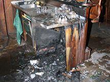 Interiéry plzeňské restaurace Na Parkánu poničené požáremničené
