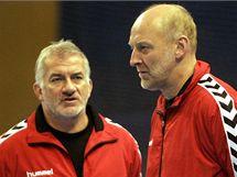 Reprezentační trenér Martin Lipták (vlevo) se svým asistentem Jiřím Mikou