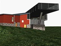 Vizualizace nové stanice lanovky na Růžové hoře