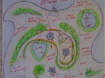 Plánek ostrova Spiral Island, který tvarem připomíná turbínu