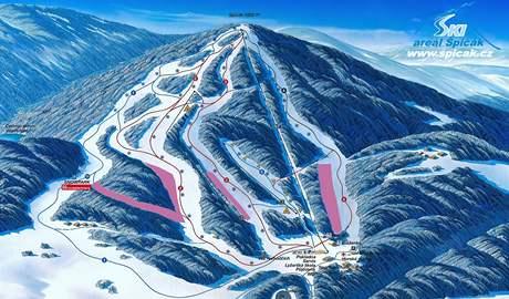 Plánek lyžařského areálu Špičák
