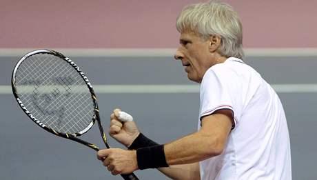 Björn Borg při duelu s Ivanem Lendlem při exhibici Advantage Tennis v Ostravě