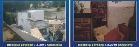 Ukázka povodňových pohlednic, které nechala zhotovit Blanka Vávrová z Chrastavy.