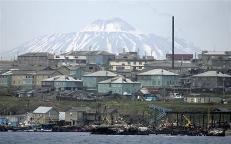 Rybářské městečko na jednom z Kurilských ostrovů Kunaširi