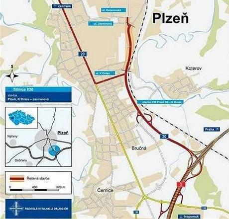 Mapka nového dálničního přivaděče od černického sjezdu