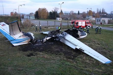 Požár letadla L 410 v Otrokovicích