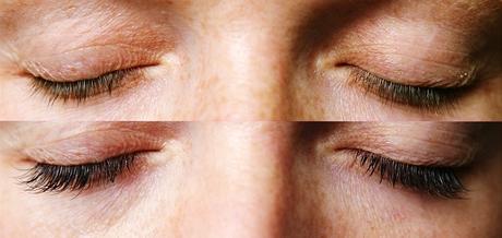 Prodloužení řas metodou Extreme Lashes - před (vlevo) a po (vpravo) - proměna čtenářky Katky