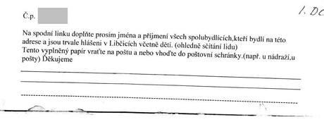 Obyvatelé Libčic nad Vltavou zmátl dokument tamější pošty.
