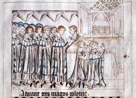 Petr z Aspeltu oddává Jana a Elišku před hlavním oltářem císařského dómu ve Špýru. Ilustrovaná kronika Balduina Lucemburského
