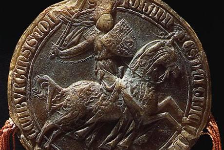 Jezdecká pečeť Jana Lucemburského jako krále českého a hraběte lucemburského, užívaná roku 1323