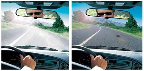 Ukázka pohledu přes polarizované brýle