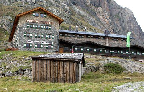 Horská chata Dresdner Hütte ve výšce 2 308 metrů