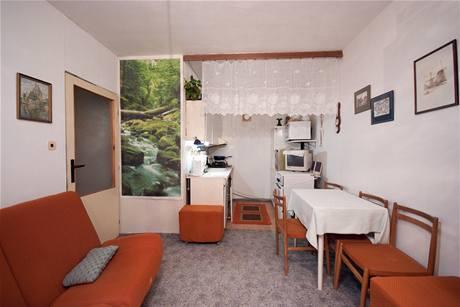 V bytě jsou dvě velmi úzké místnosti - ložnice a obývací kuchyně
