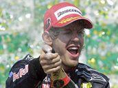 VÍTĚZ. Sebastian Vettel z Red Bullu se raduje z vítězství.