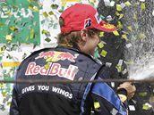 VÍTĚZ. Sebastian Vettel (vlevo) z Red Bullu se raduje z vítězství.