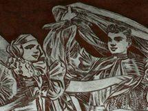 Předlohou sgrafia na olomouckém nádraží se stali krojovaní Hanáci, tváře jim ale Wilhelm Zlamal vytvořil podle místních baleťáků.