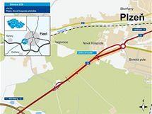 Mapka budovaného dálničního přivaděče od Sulkova