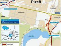 Mapka budovaného dálničního přivaděče na Borech