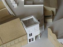 Model nové budovy muzea betlémů v Třebechovicích (bílé budovy uprostřed)