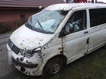 Nehoda dodávky v Borovničce u Dvora Králové nad Labem