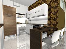 Vizualizace: u umístění lednice v rohu je třeba počítat s prostorem na otevírání dveří