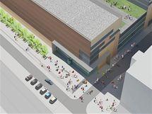 Návrh multifunkčního centra, které by mělo vyrůst na místě budov 24, 25, a 26 v bývalém areálu Svit ve Zlíně.
