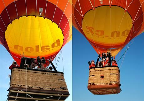 Koš balónu pro Klasický let balonem (vlevo), koš balónu pro Prémiové a Privátní lety balonem (vpravo).