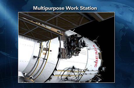 ISS - Místo na modulu Zvezda, kam kosmonauti přimontovali vícefunkční zařízení.