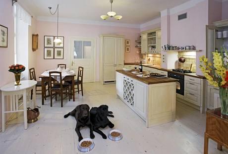 Vnitřní dispozici domu ovlivnil zejména Jaroslav Harmáček ze studia Harmonie. Dodal i kuchyň, která vypadá, jako by tu byla odjakživa. Psům je design kuchyně lhostejný. Zajímají se jen o to, jestli mají misky plné.