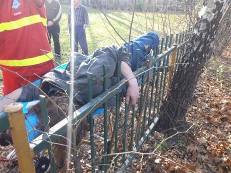 Opilý muž se nabodl na plot, hasiči ho z něj nakonec museli odstřihnout hydraulickými nůžkami.