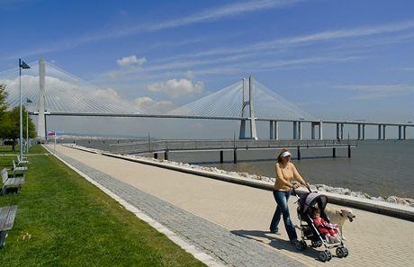 Lisabon. Promenáda v Parque das Naçoes s mostem Vasco de Gamy v pozadí