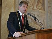 Staronový primátor města Brna Roman Onderka (ČSSD) krátce po svém zvolení 11. listopadu 2010