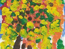 Obraz Podzim, za který získala Věra Bárová malující pouze ústy první cenu ve výtvarné kategorii festivalu pro postižené.