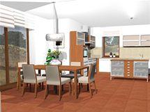 Zařízení velké obývací kuchyně v novostavbě rodinného domu