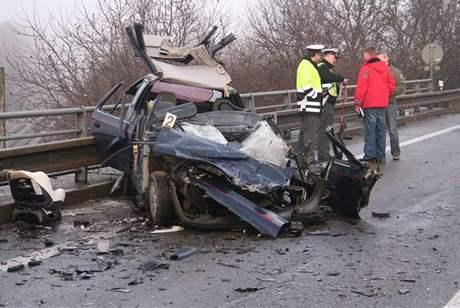 Nehoda u Kuřimi, při které zemřel řidič felicie