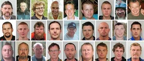 Portréty dvacetisedmi horníků z novozélandského uhelného dolu.