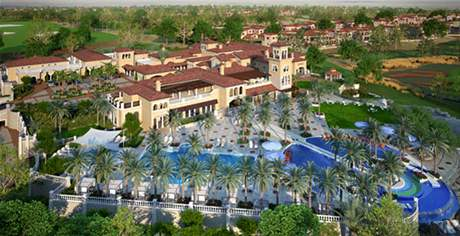 Plán Norman Clubhouse na hřišti Earth, dějišti Dubai World Championship.