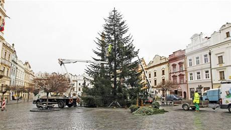 Zdobení vánočního stromu na Pernštýnském náměstí v Pardubicích