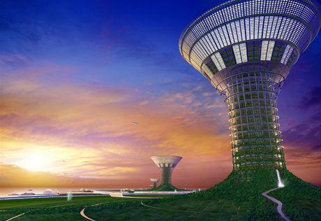 Umělé plovoucí ostrovy podle návrhu japonské firmy Shimizu (vizualizace). Většina lidí tady bude žít v obrovských kilometr vysokých věžích