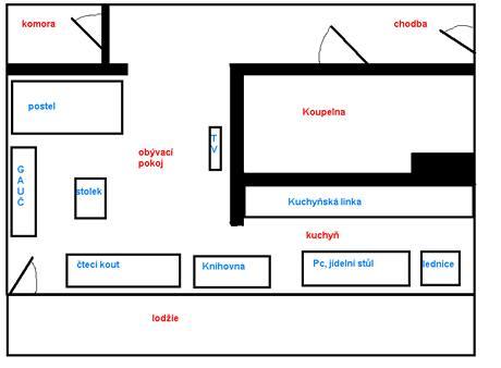 Plánek bytu 1 + kk o rozloze 37 metrů čtverečních