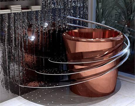 Měděná vana Tub-E s perforovaným nerezovým schodištěm. Na obvodu vany jsou LED světla