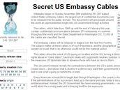 Stránka WikiLeaks, kde byly zveřejněny tajné depeše americké diplomacie (29. listopadu 2010)