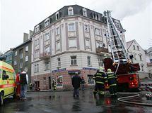 Požár v Karlových Varech.