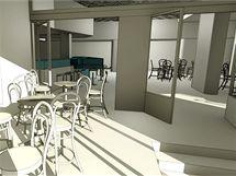Vizualizace kavárny, která má vzniknout v prostoru předsálí kina Metropol. Autorem návrhu je olomoucký architekt Petr Jakšík.