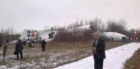 Tupolev Tu-154 letecké společnosti Dagestan Airlines nouzově přistál na moskevském letišti Domodědovo. (4. prosince 2010)
