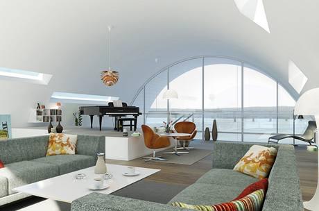 Obývací pokoj s výhledem na fjord