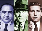 Al Capone, Bugsy Siegel a Lucky Luciano na dobových policejních záběrech.