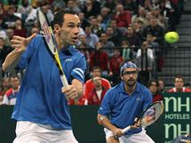 RETURN. Francouzský tenista Michael Llodra returnuje v utkání Davis Cupu proti Srbsku.