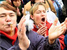 Stávkující v Pardubicích