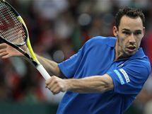 Francouzský tenista Michael Llodra ve finále Davisova poháru v rozhodující dvouhře,